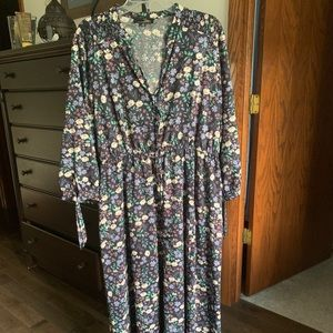 Floral Peasant-Style Long Dress, 2X
